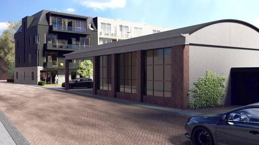 Impressie vanuit de Haarviltstraat. De gereconstrueerde garage van Janota keert terug in het straatbeeld.