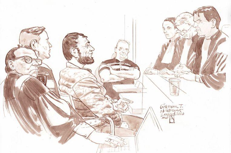Rechtbanktekening van verdachte Gokmen T., de verdachte van de schietpartij in een tram op het 24 Oktoberplein in Utrecht in maart 2019. Beeld ANP