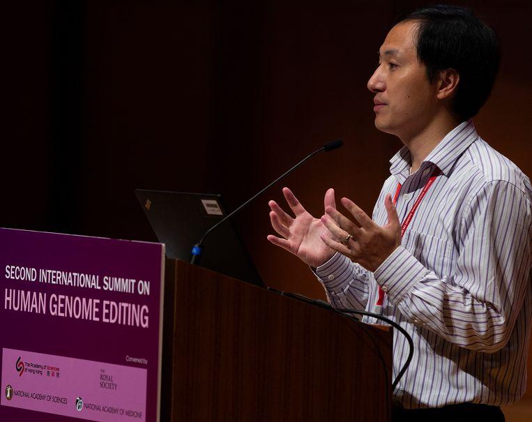 De Chinese wetenschapper He Jiankui op het genoomonderzoekscongres in Hong Kong.