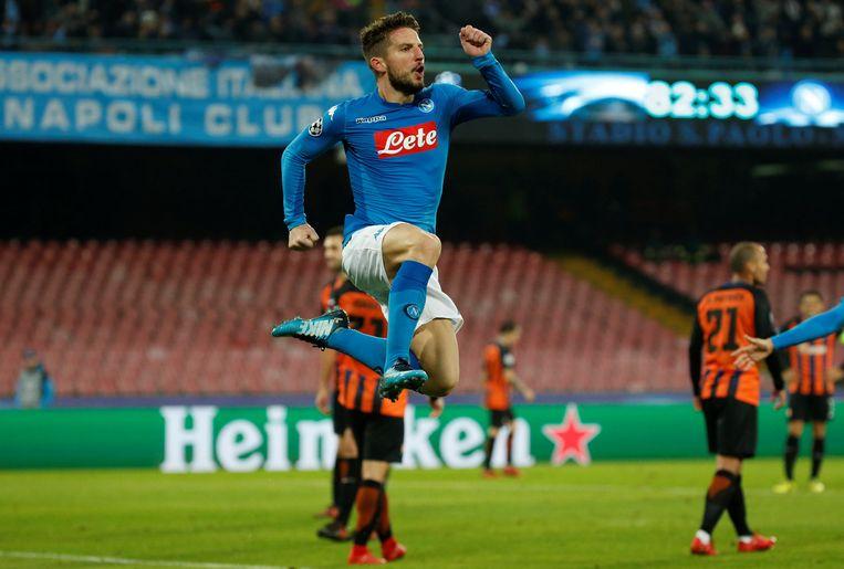De metamorfose van Dries Mertens tot diepe spits is absoluut een succes. Met 34 doelpunten in 2017 kan de Rode Duivel mooie cijfers voorleggen. Ook in de CL scoorde Mertens vlot, hier tegen Sjachtar Donetsk.