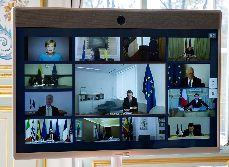 De videoconferentie van de Europese leiders, afgelopen donderdag.  Beeld AP