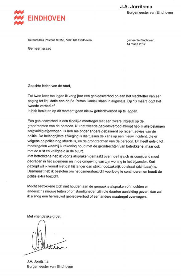 Brief van de burgemeester