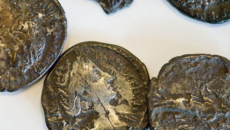 De munten hebben een beeltenis van een Romeinse keizer en stammen uit de periode van de eerste tot en met de derde eeuw na Christus. Ze zijn begin dit jaar gevonden door een amateurarcheoloog in het noorden van Drenthe. Beeld ANP