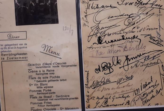 De menukaart van het bevrijdingsfeest in Zoetermeer.