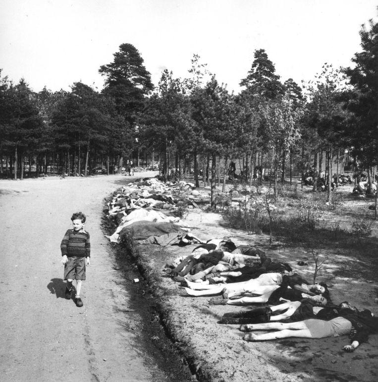 17 april 1945. De 7-jarige Sieg Maandag loopt langs de lijken in het bevrijde kamp Bergen-Belsen. Beeld George Rodger, Niod