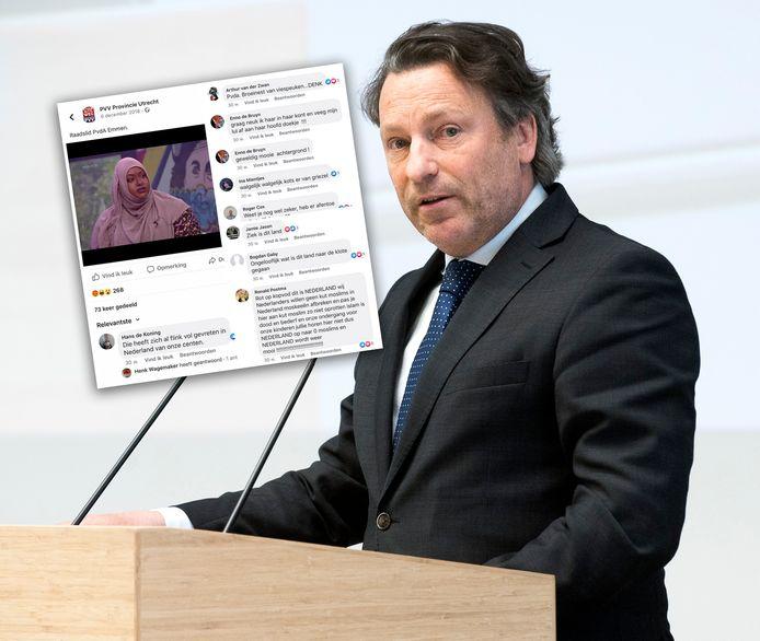 PVV-fractievoorzitter René Dercksen en de Facebookpost.