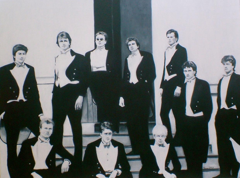 Class of '87, schilderij van Rona Marsden naar de beroemde foto van de Bullingdon Club. Bovenste rij, tweede van links: David Cameron. Onderste rij, rechts: Boris Johnson.