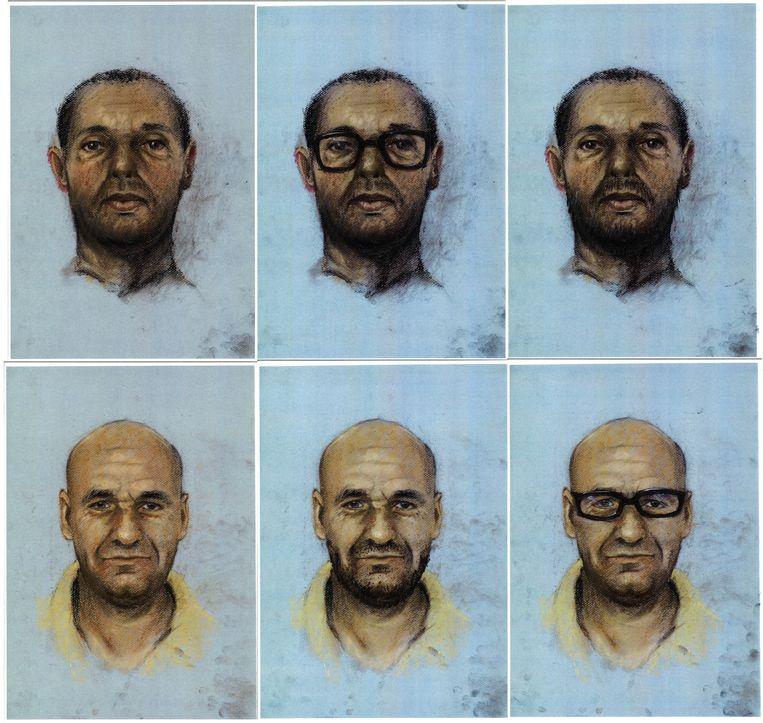 Compositietekeningen van hoe Ridouan T. (boven) en Saïd R. (onder) er volgens de politie nu uit zouden kunnen zien. Beeld Politie