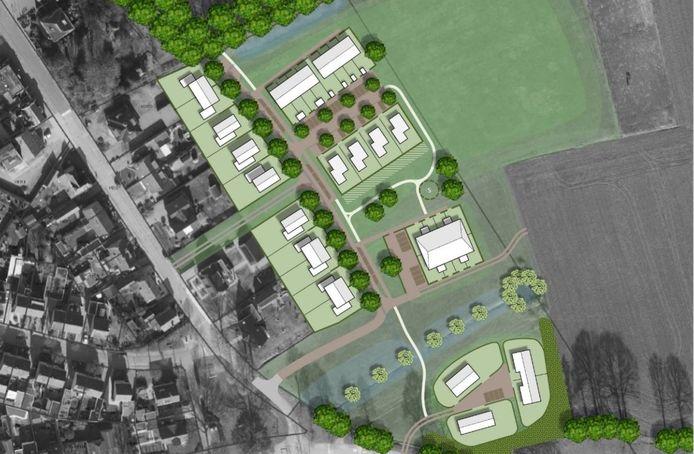 Het nieuwbouwplan in Nieuw-Heeten, waar in principe plek is voor 38 nieuwe woningen zoals hierboven geïllustreerd. In de eerste fase komen er achttien woningen.