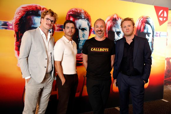 Bart Hollanders, Matteo Simoni en Rik Verheye met regisseur Jan Eelen