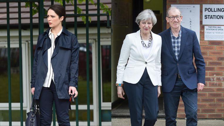 Nicola Thorp en Premier Theresa May en echtgenoot Philip Beeld null
