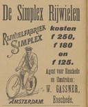 Advertentie van rijwielhandel Gassner uit Enschede, 1898