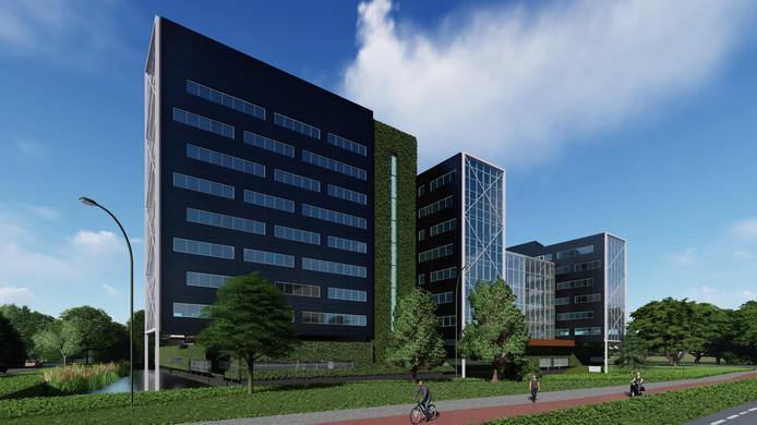 Een impressie van het nieuwe uiterlijk van de kantoortorens aan de Claudius Prinsenlaan in Breda, die de naam Bond Towers gaan krijgen.