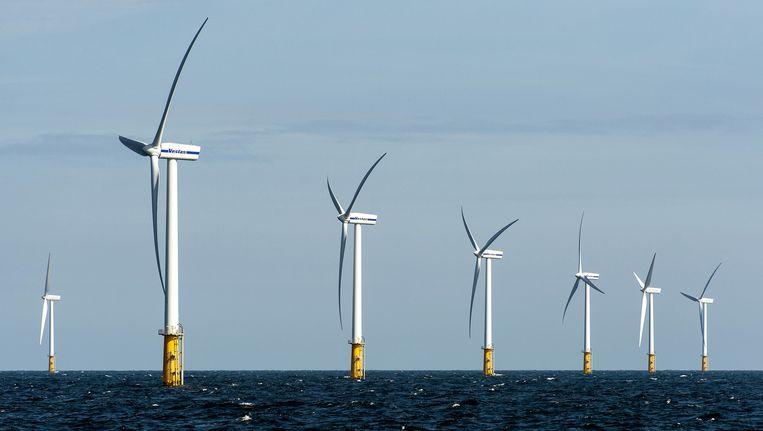 Het Prinses Amalia Windpark in de Noordzee, ter hoogte van IJmuiden. Beeld ANP