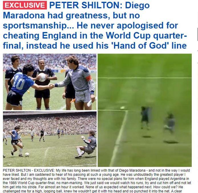 Ook het feit dat Maradona zich nooit verontschuldigde, zit nog steeds hoog bij Shilton.