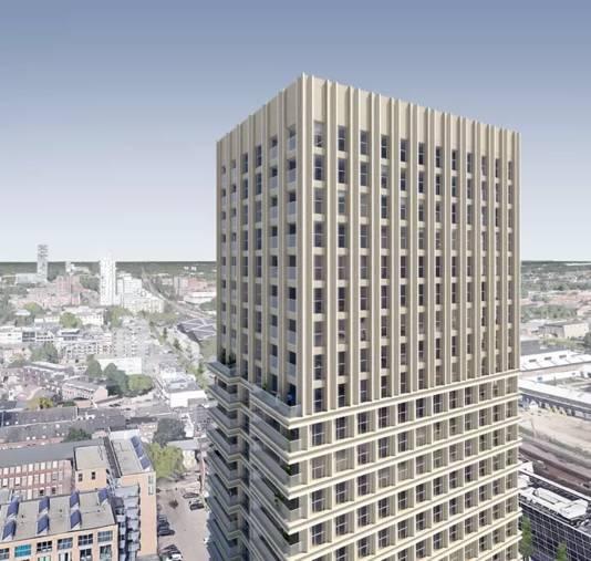 De koopappartementen zitten in de top van woontoren de Bankier.