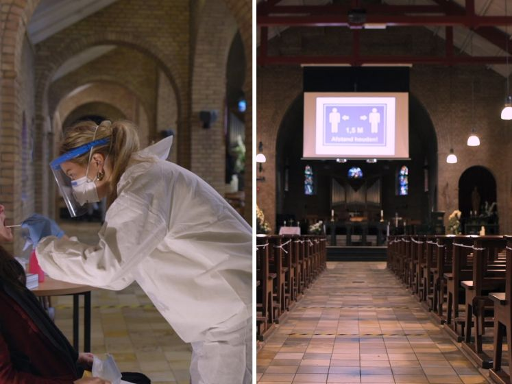 Bijzondere teststraat: wattenstaafje in je neus in de kerk