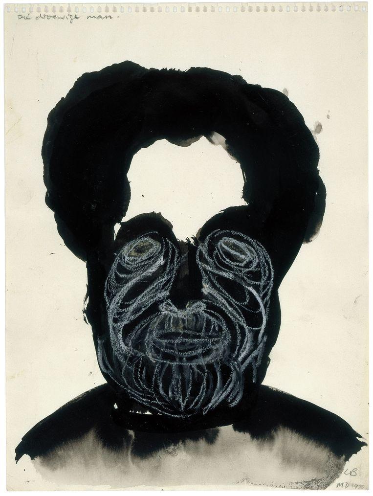 Christiaan Braun wil niet worden gefotografeerd. Wel is hij bereid om een portret te leveren dat de kunstenares Marlene Dumas in 1990 van hem maakte. Titel: De droevige man, Christiaan Braun. Beeld Marlene Dumas