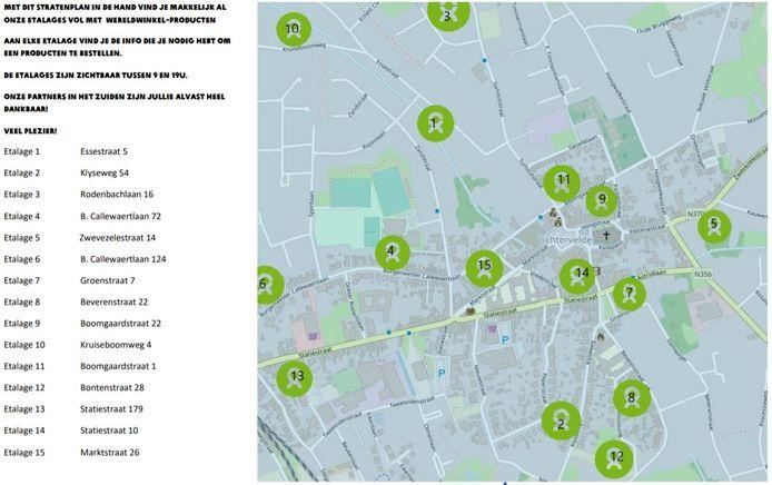 Oxfam Lichtervelde zette de 15 etalages uit op een handig kaartje