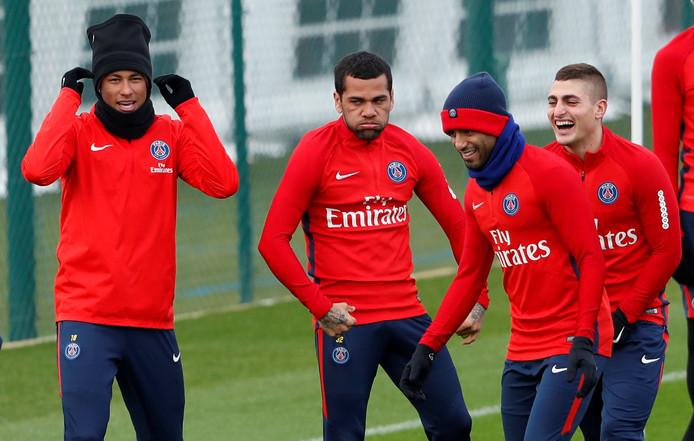Neymar, Dani Alves, Lucas Moura en Marco Verratti