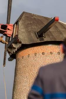 Secuur werk met groot materiaal bij molen in Hapert