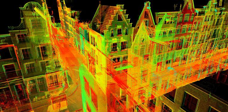 Digitale Laserscan van de Bloemstraat, 4D Research Lab, Universiteit van Amsterdam.  Beeld Stadsarchief Amsterdam