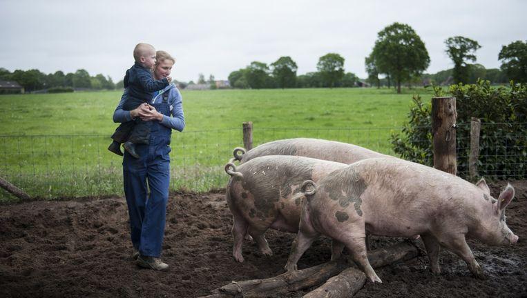 Nieske Neimeijer met haar zoontje Jasper op haar biologische varkensboerderij in Heino. Beeld An-Sofie Kesteleyn