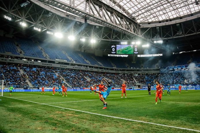 Het gloednieuwe Prestovsky-stadion van Zenit, aan de noordkant van Sint-Petersburg. Met de bouw van het stadion ging zeker 650 miljoen euro gemoeid.