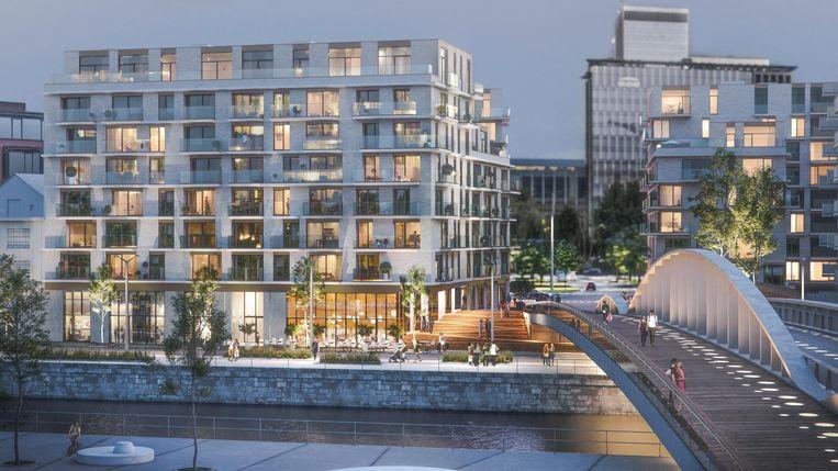 Het prestigieuze Riva-project zal zo'n 140 wooneenheden bouwen op de Akenkaai. Verder komt er ook de Picard-voetgangersbrug (rechts op de foto), die de twee oevers en haar bewoners letterlijk en figuurlijk dichter bij elkaar brengt.