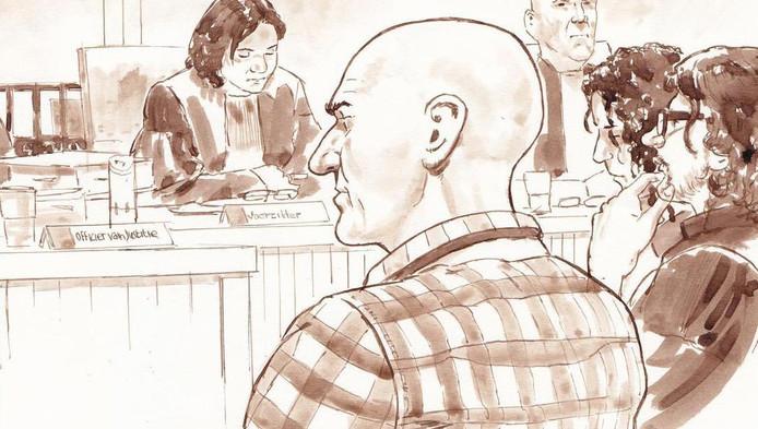 Rechtbanktekening van Jos de G. tijdens de uitspraak in de zaak Nicole van den Hurk.