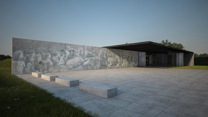 Een artist impression van hoe het Generaal Maczek Memorial er ongeveer uit gaat zien. Het gebouw is inmiddels opgeleverd en wordt 31 maart officieel geopend.