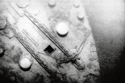 Opnamen van de boeg van Titanic op de oceaanbodem.