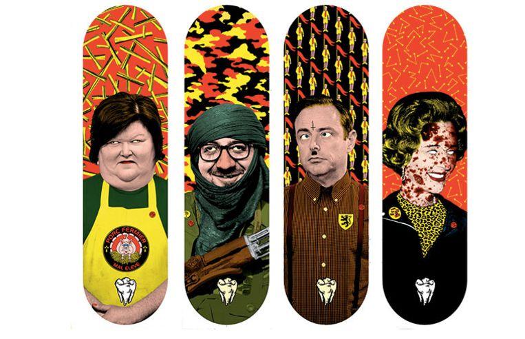 De serie van vier skateboards die Elzo Durt maakte in collaboratie met Silence