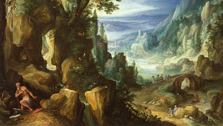 Paul Bril (1553/1554-1626), Berglandschap met de heilige Hieronymus, 1592. Beeld Het Mauritshuis