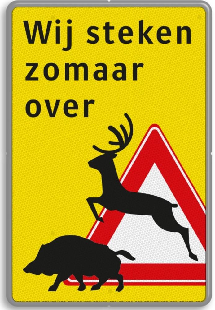 Het nieuwe verkeersbord dat in de gemeente Heerde langs openbare wegen wordt geplaatst. Het is opvallender en waarschuwt verkeer beter voor overstekend wild.