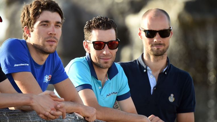 Tom Boonen, hier rechts van Thibaut Pinot en Vincenzo Nibali in Oman.
