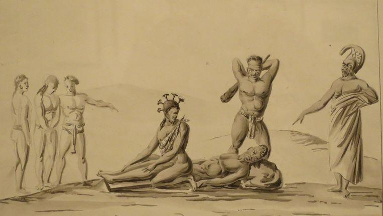 Lithografietekening van een publieke executie in Hawaii in 1819, door Jacques Arago. Beeld Wikimedia Commons