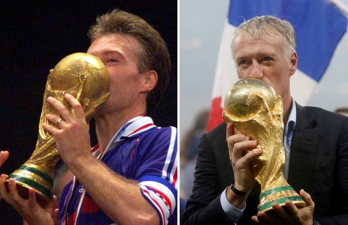 Didier Deschamps kust de WK-beker, die hij eerst als speler won (links) en nu als bondscoach.