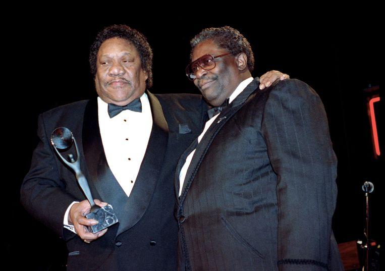 Bland (links) met B.B. King in 1992 tijdens de ceremonie waarbij hij werd opgenomen in de Rock and Roll Hall of Fame.