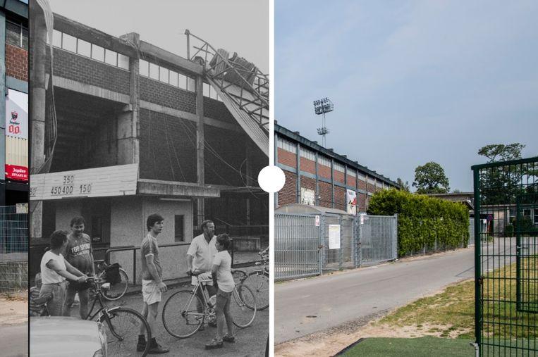 Het Daknamstadion vroeger en nu.