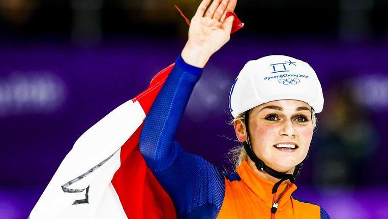 Irene Schouten na haar derde plaats op de massastart op de Spelen in Gangneung Beeld anp
