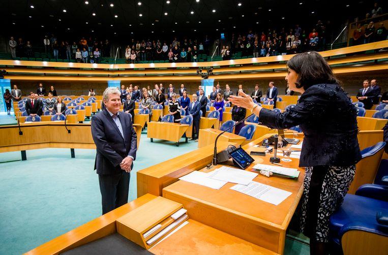 De Groningse PvdA-politicus William Moorlag wordt beëdigd als lid van de Tweede Kamer, oktober 2017. Beeld ANP