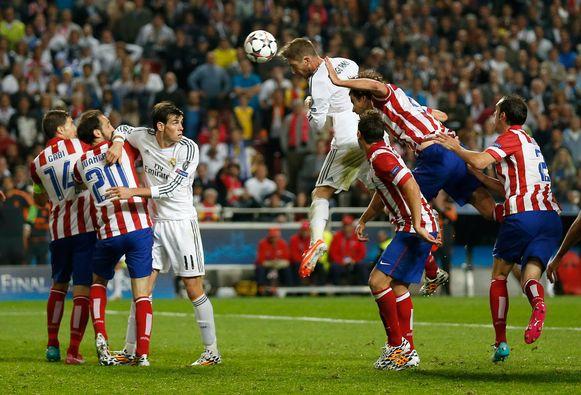 Het doelpunt waarmee Sergio Ramos verlengingen verzekerde in de Champions League-finale van 2014.