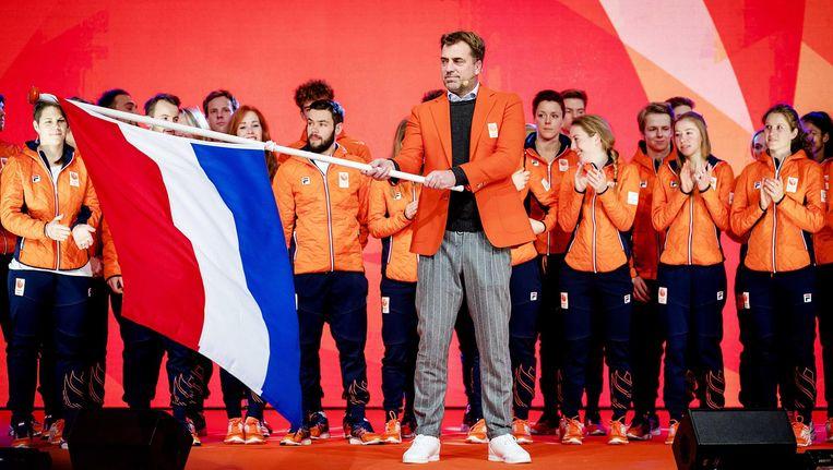 Chef de mission Jeroen Bijl tijdens de teamoverdracht van Olympic en Paralympic TeamNL voor de Olympische Spelen van Pyeongchang. Beeld Robin van Lonkhuijsen / ANP