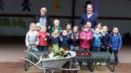 Leerlingen planten pompoenen