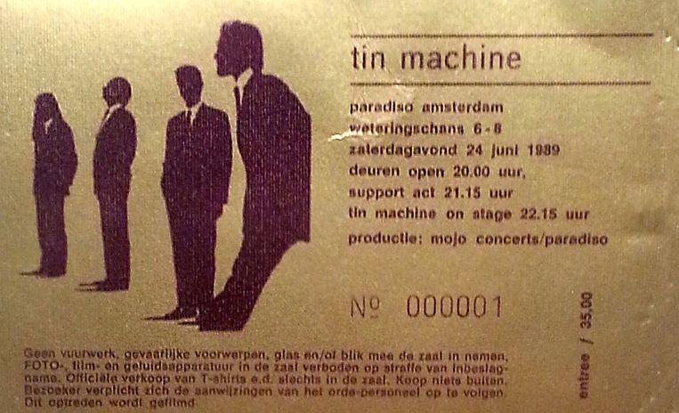 Toegangskaartje voor David Bowie in Paradiso in 1989. Beeld
