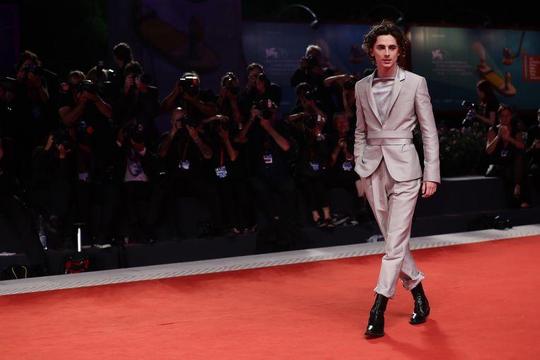 Timothée Chalamet tijdens het Film Festival in Venetië.  Beeld Getty Images