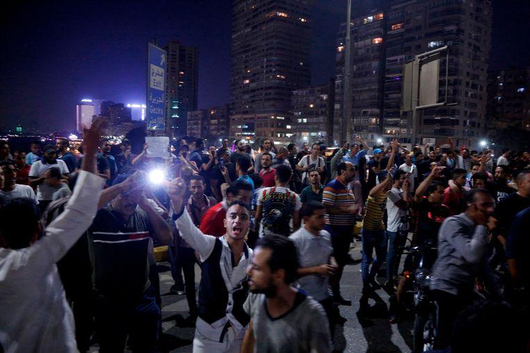 Betogers in Caïro, een dag eerder.