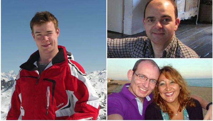 Leopold Hecht(links), Olivier Delespesse(rechts boven)en rechts onder Adelma Ruiz met haar man Christophe Delcambe die de aanslag wel overleefde.