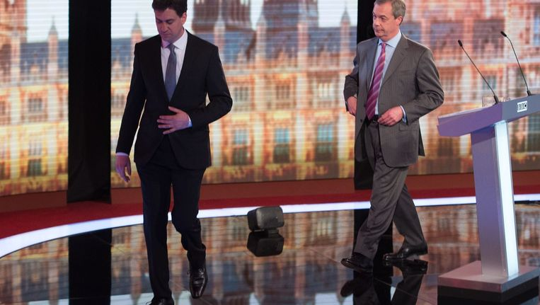 Ed Miliband van de Labour Party (links) en UKIP-leider Nigel Farrage